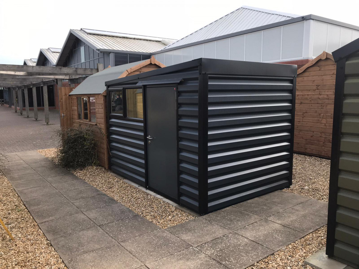 Pent Shed in Anthracite with black windows