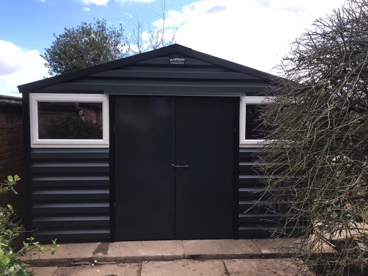 Apex Shed in Anthracite with double doors