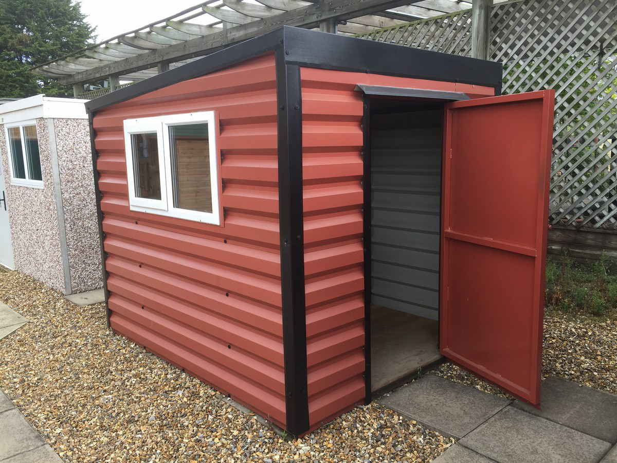 Pent Shed in Terracotta with window on side