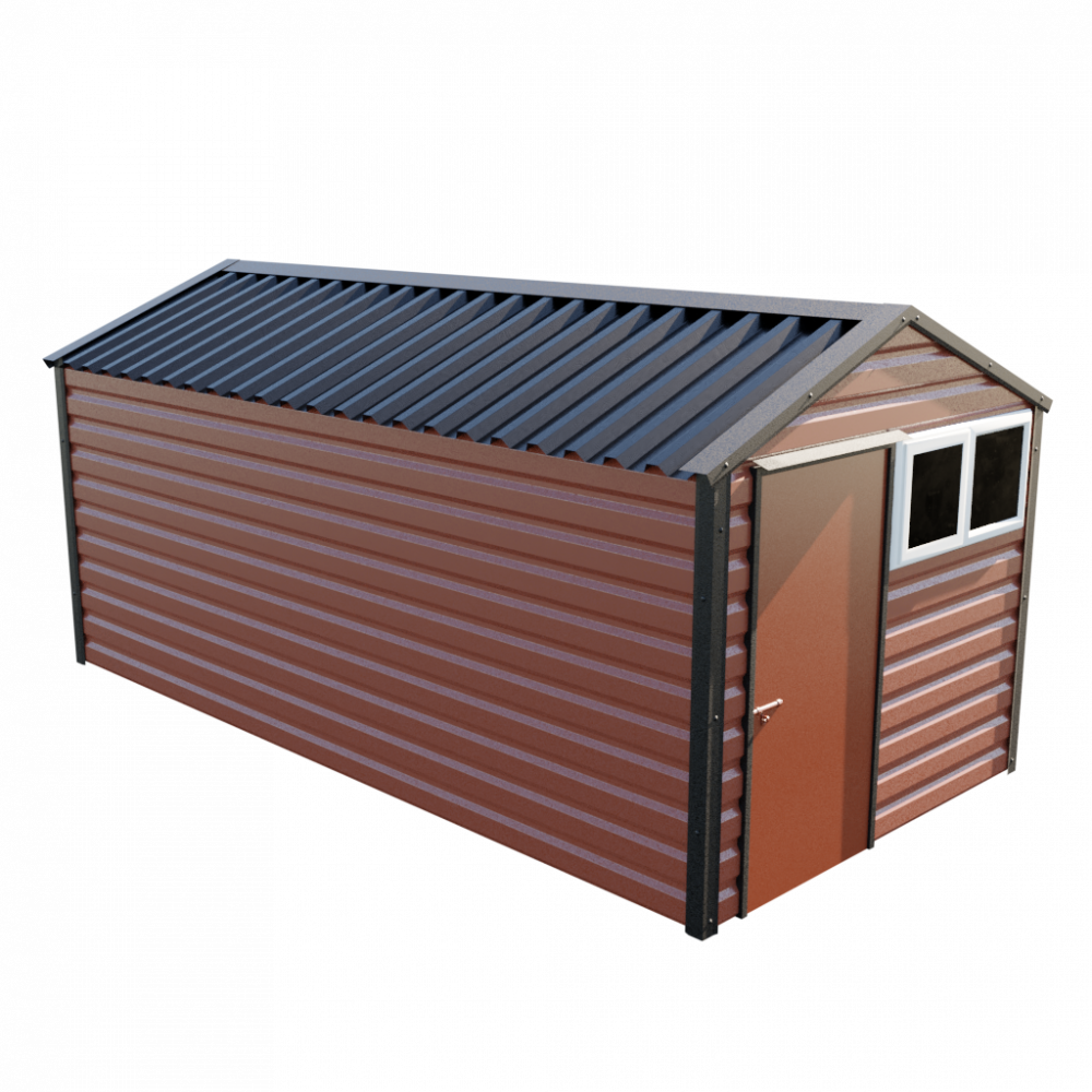 """8' x 16'9"""" Apex Shed - Terracotta"""