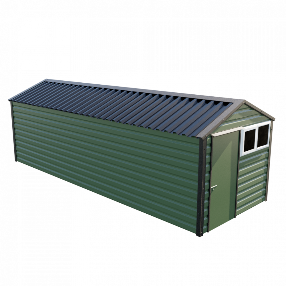 """8' x 23'3"""" Apex Shed - Olive Green"""