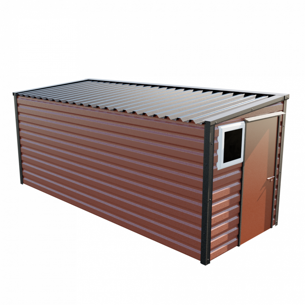 """6' x 16'9"""" Pent Shed - Terracotta"""