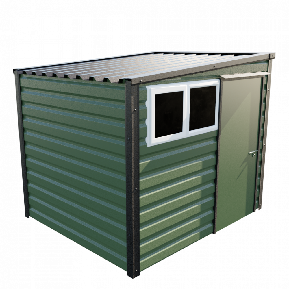 8' x 7' Pent Shed - Olive Green