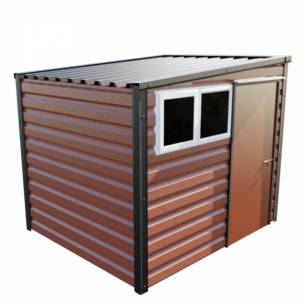 8' x 7' Pent Shed - Terracotta