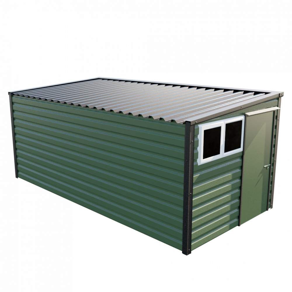 """8' x 16'9"""" Pent Shed - Olive Green"""