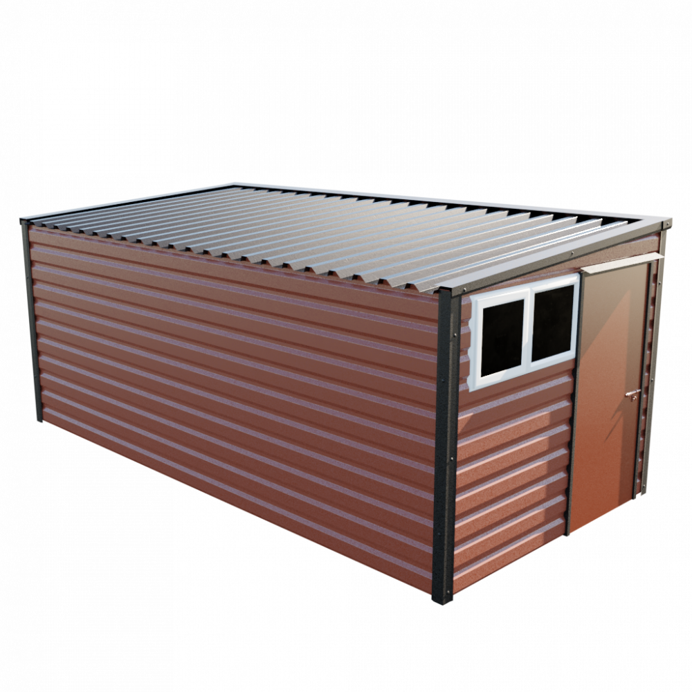 "8' x 16'9"" Pent Shed - Terracotta"