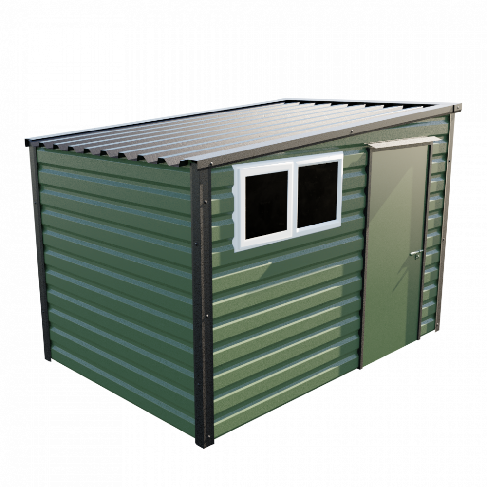 """10'2"""" x 7' Pent Shed - Olive Green"""