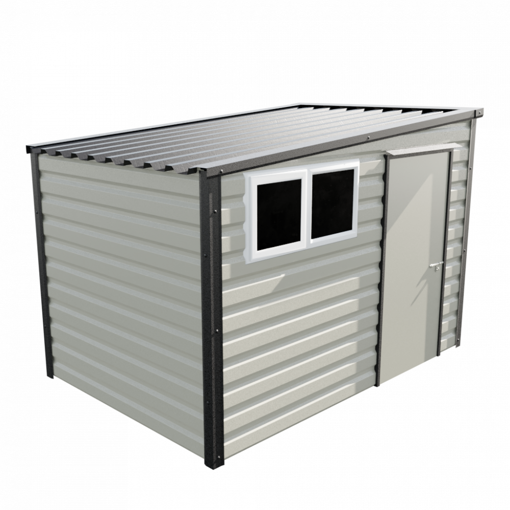 """10'2"""" x 7' Pent Shed - Goosewing Grey"""