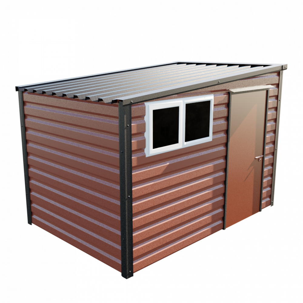 "10'2"" x 7' Pent Shed - Terracotta"