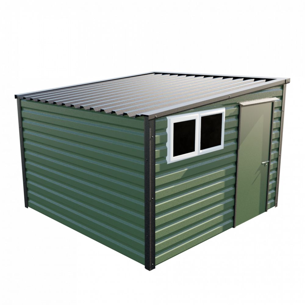 "10'2"" x 10'2"" Pent Shed - Olive Green"