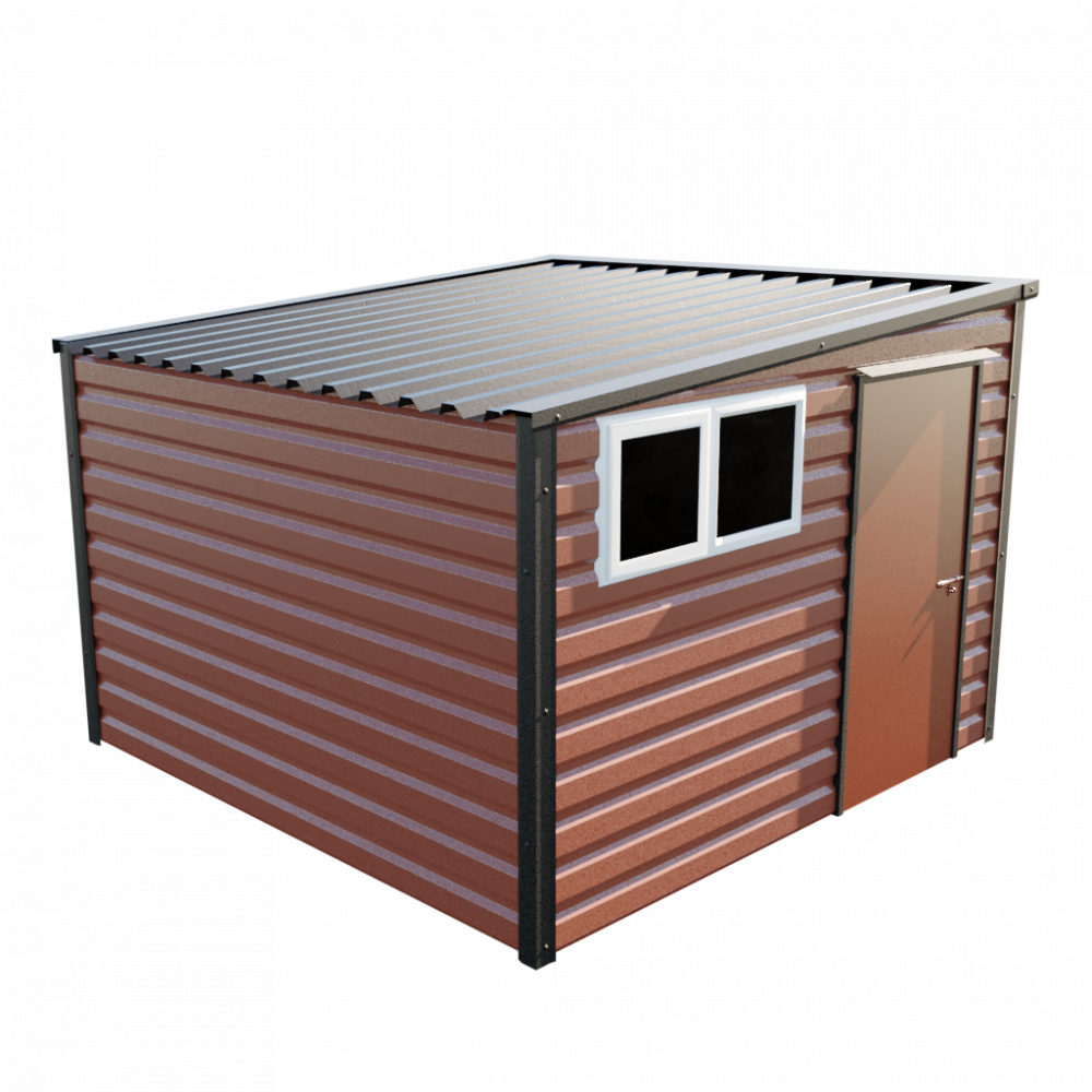 "10'2"" x 10'2"" Pent Shed - Terracotta"