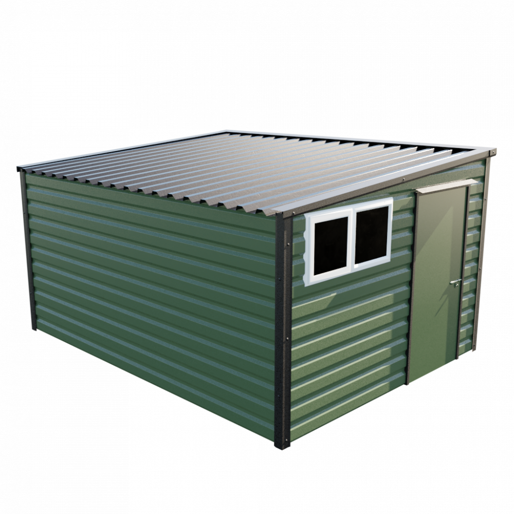 """10'2"""" x 13'6"""" Pent Shed - Olive Green"""