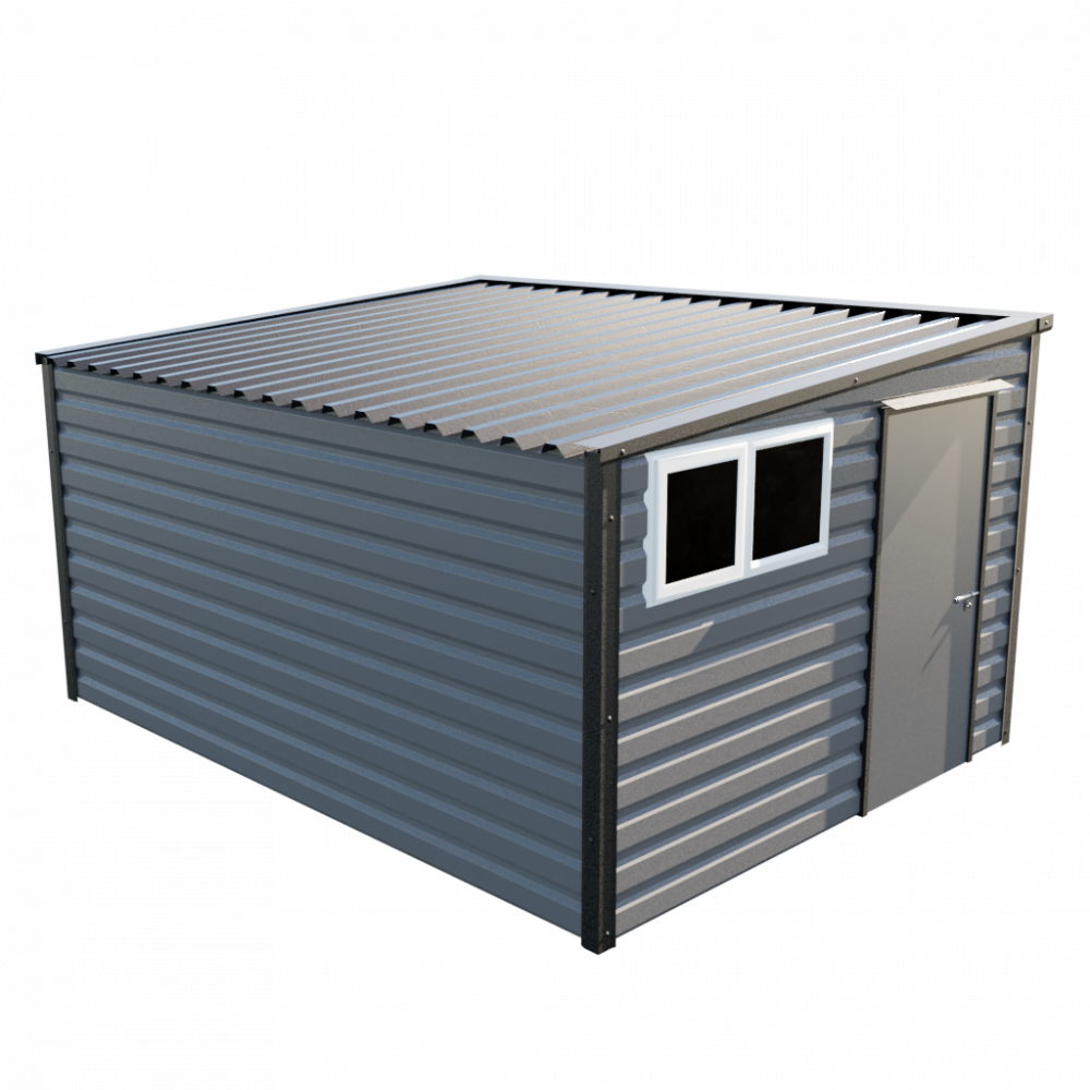 """10'2"""" x 13'6"""" Pent Shed - Anthracite"""