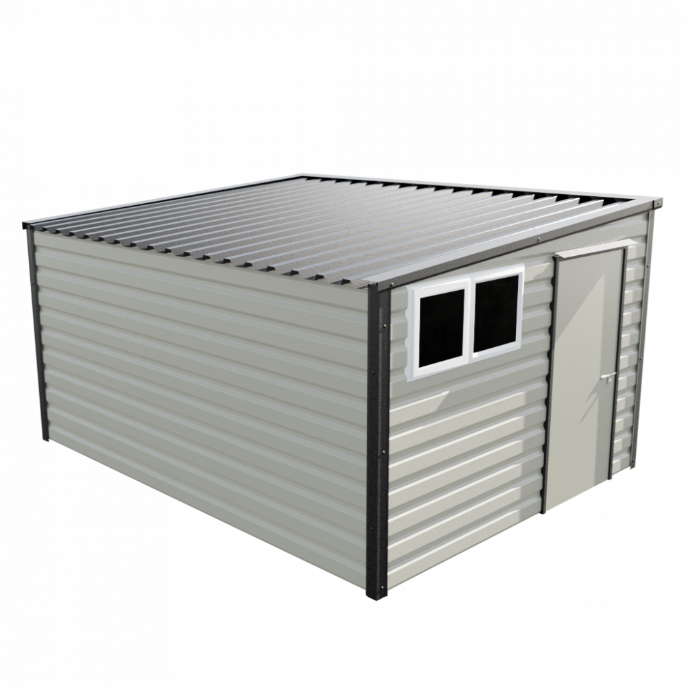"""10'2"""" x 13'6"""" Pent Shed - Goosewing Grey"""