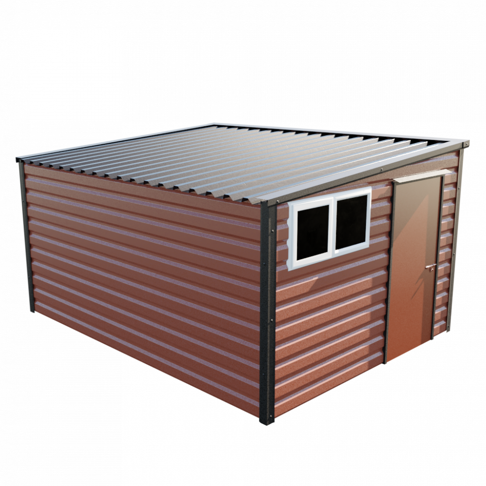 """10'2"""" x 13'6"""" Pent Shed - Terracotta"""