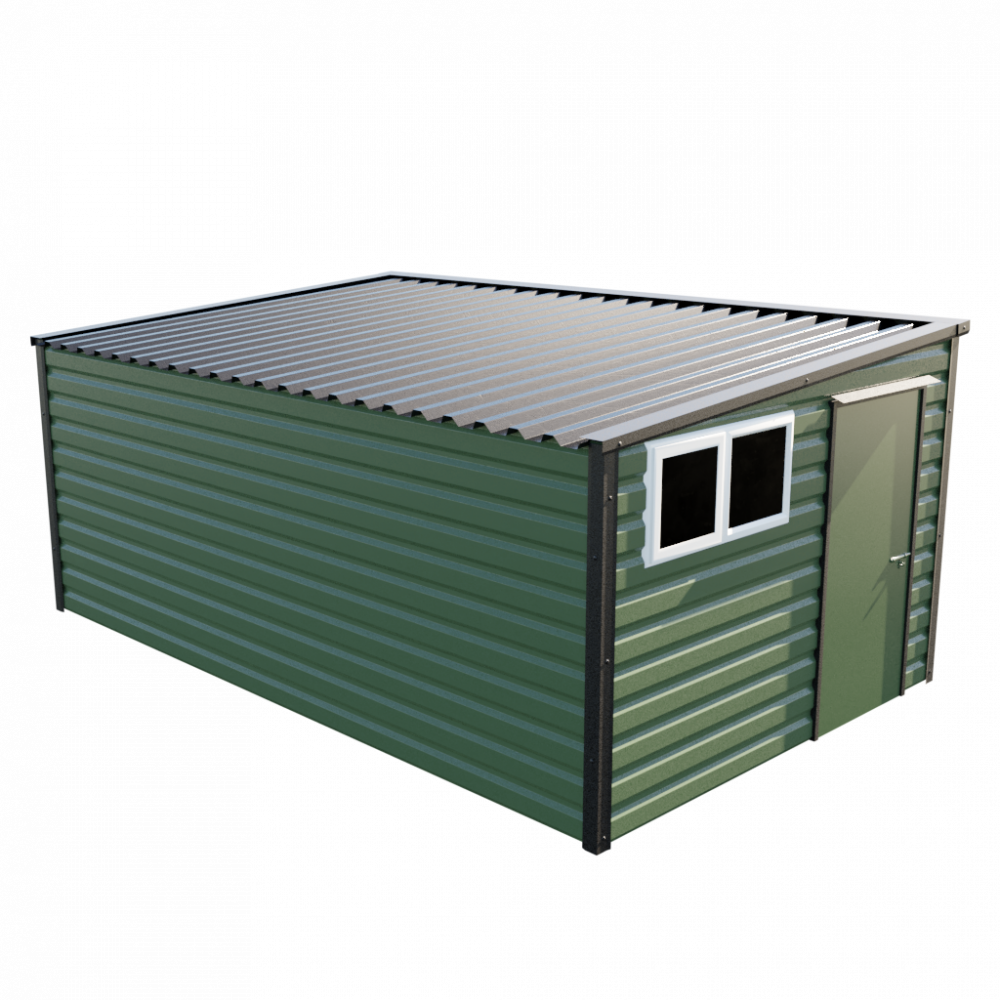 """10'2"""" x 16'9"""" Pent Shed - Olive Green"""