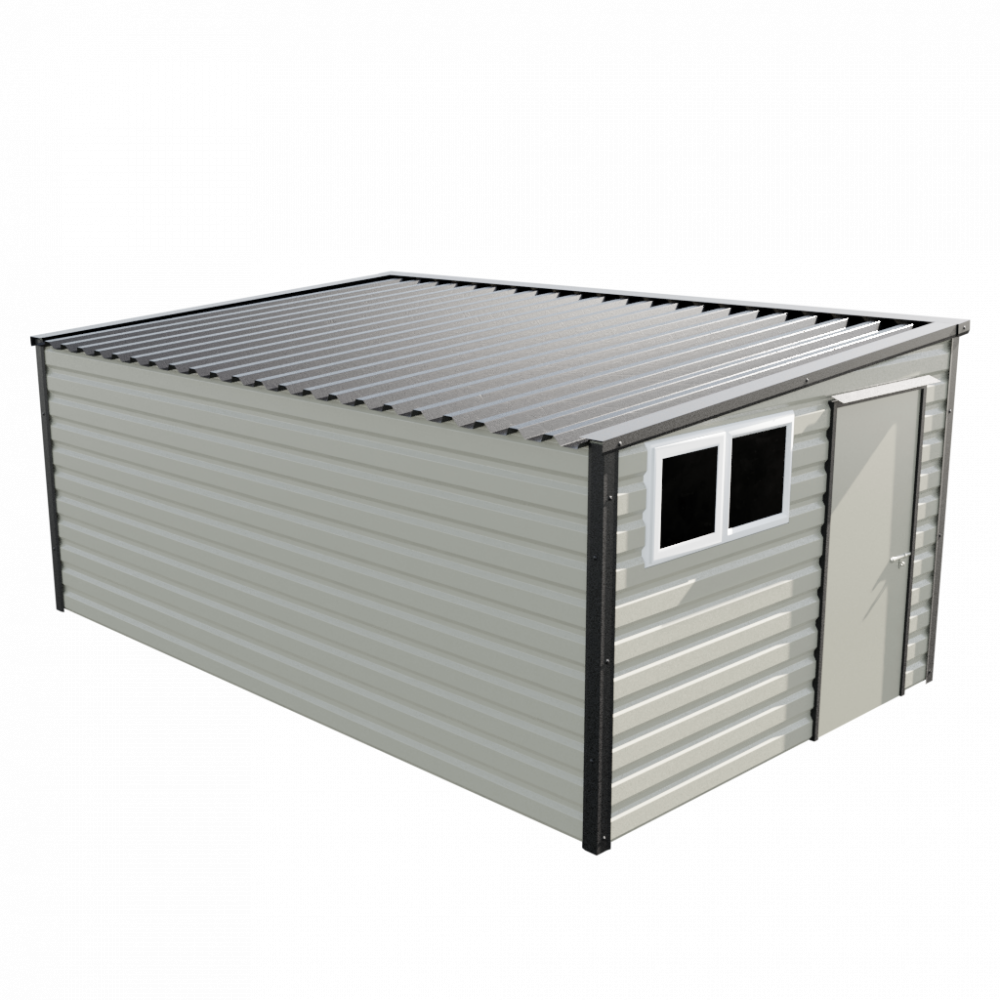 """10'2"""" x 16'9"""" Pent Shed - Goosewing Grey"""