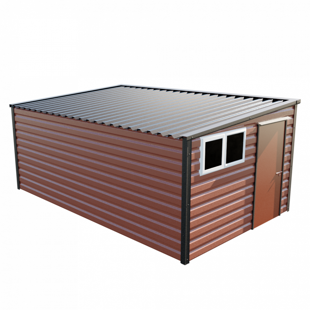 "10'2"" x 16'9"" Pent Shed - Terracotta"