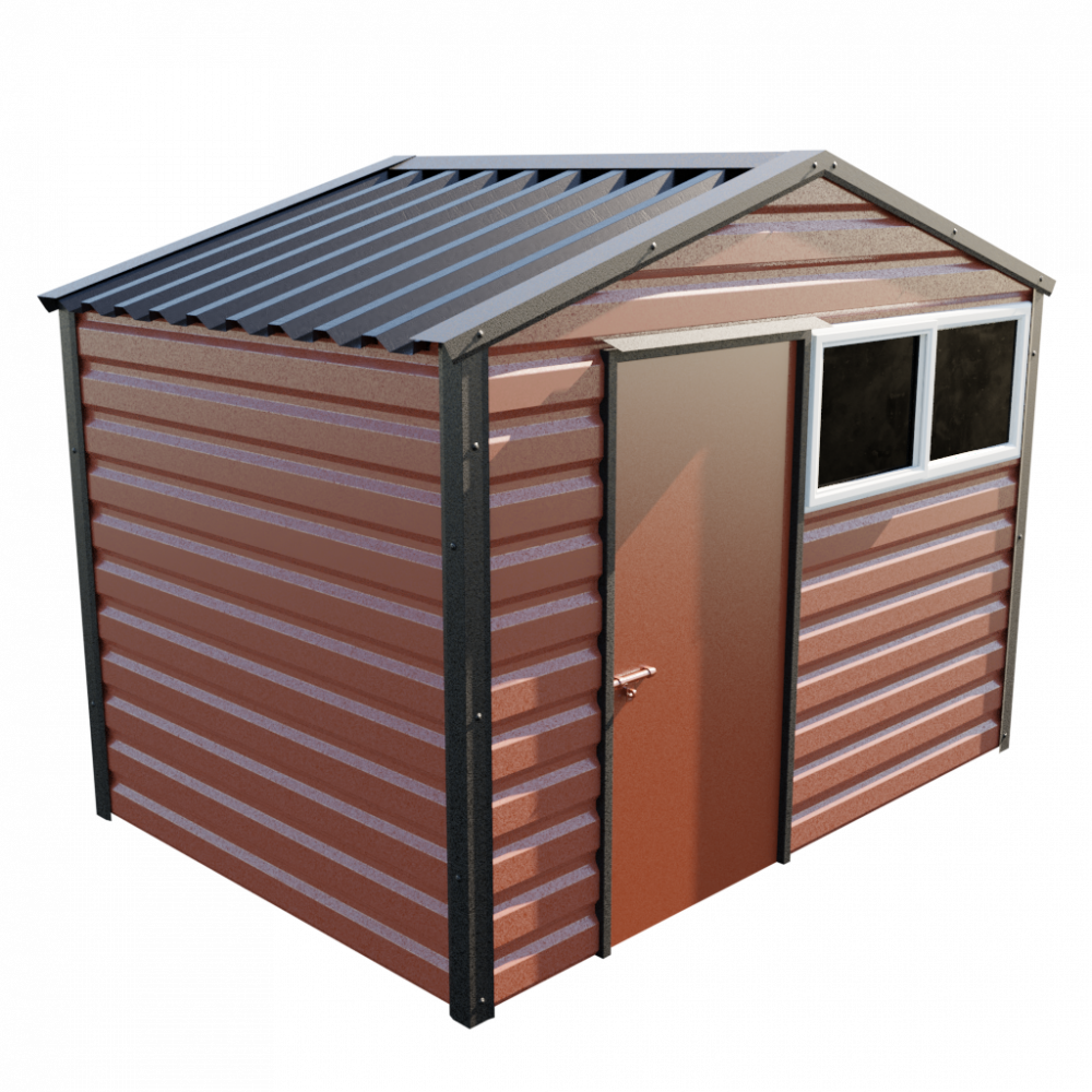 "10'2"" x 7' Apex Shed - Terracotta"