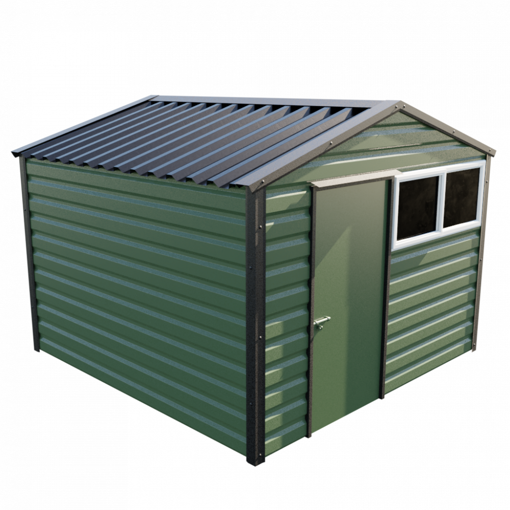 """10'2"""" x 10'2"""" Apex Shed - Olive Green"""