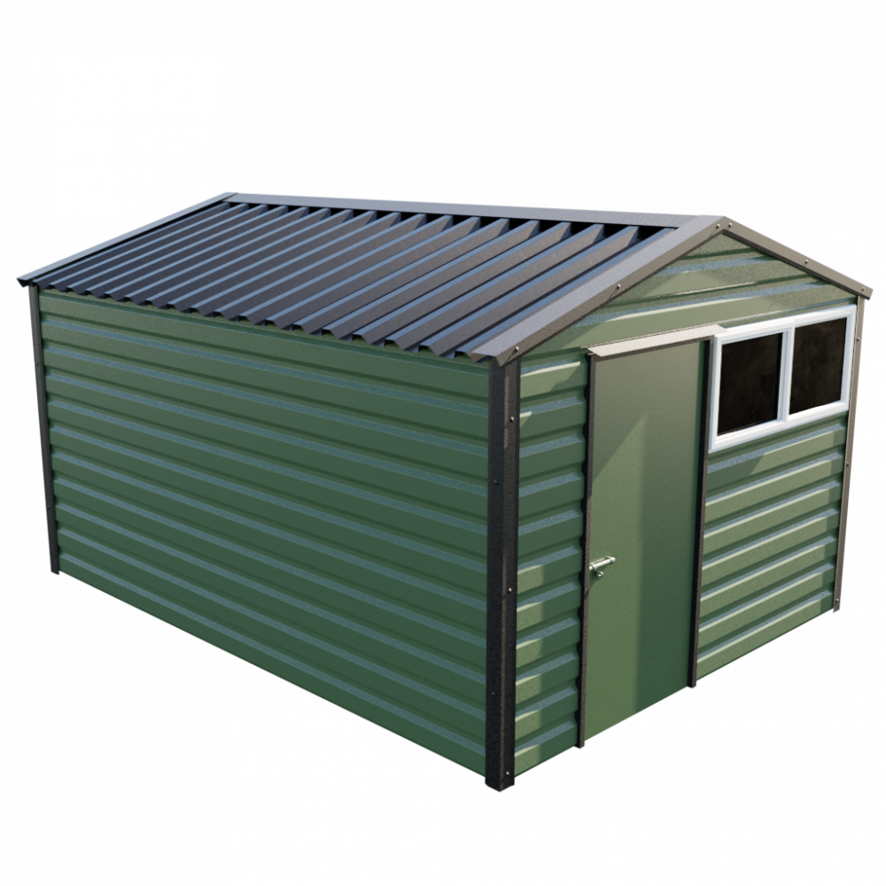 "10'2"" x 13'6"" Apex Shed - Olive Green"