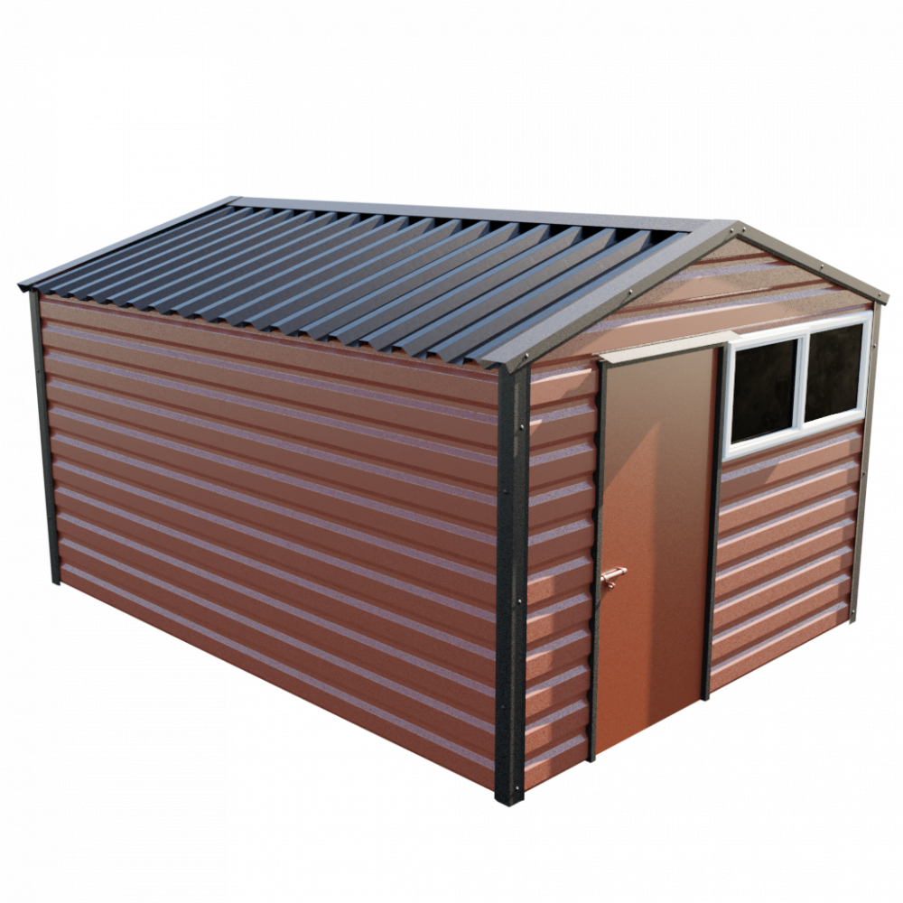 """10'2"""" x 13'6"""" Apex Shed - Terracotta"""
