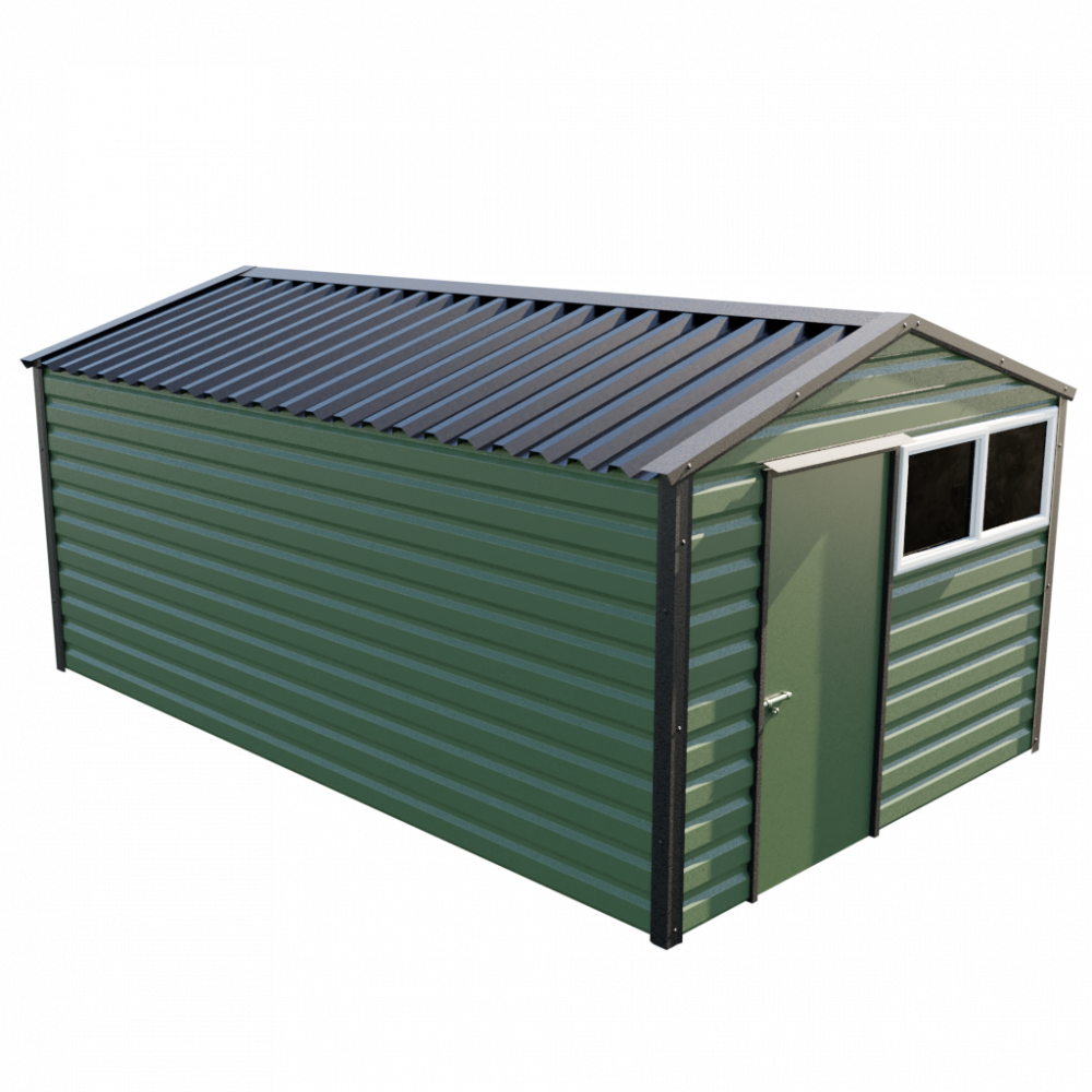"""10'2"""" x 16'9"""" Apex Shed - Olive Green"""