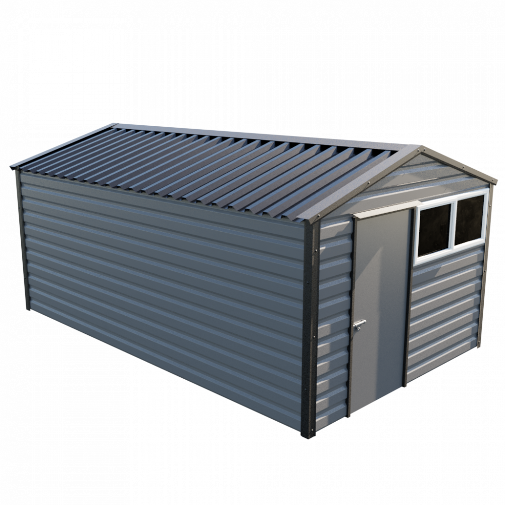 """10'2"""" x 16'9"""" Apex Shed - Anthracite"""
