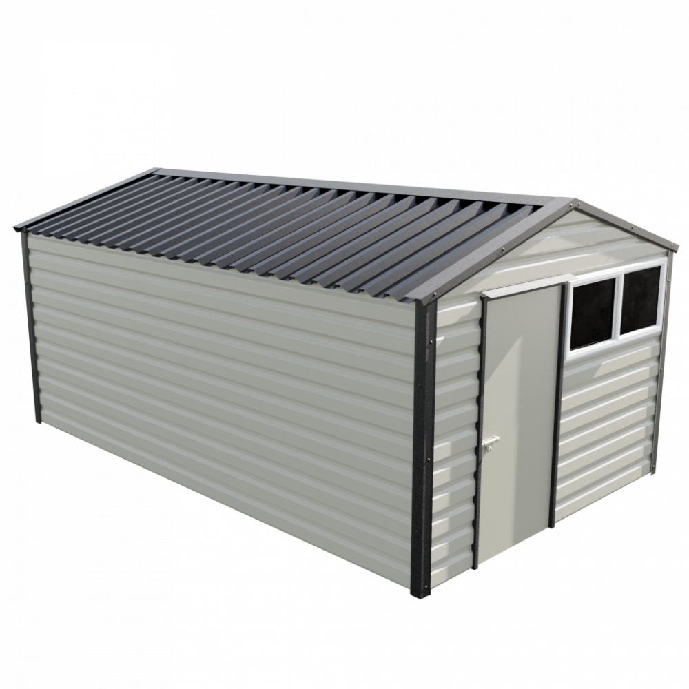 """10'2"""" x 16'9"""" Apex Shed - Goosewing Grey"""
