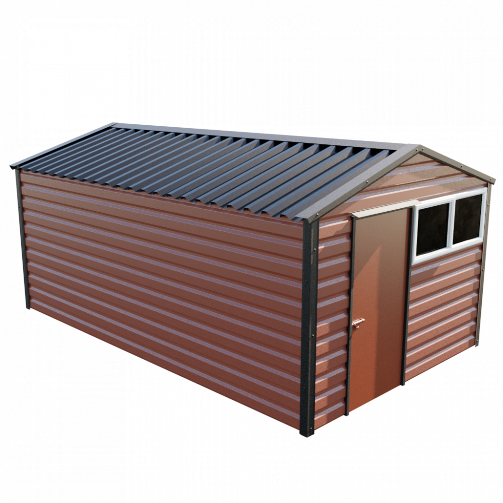 "10'2"" x 16'9"" Apex Shed - Terracotta"