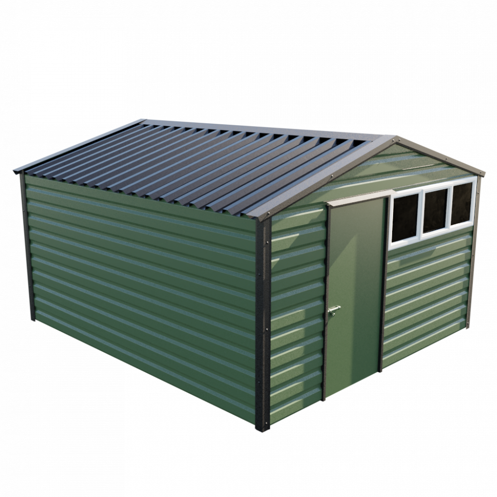 "12' x 13'6"" Apex Shed - Olive Green"
