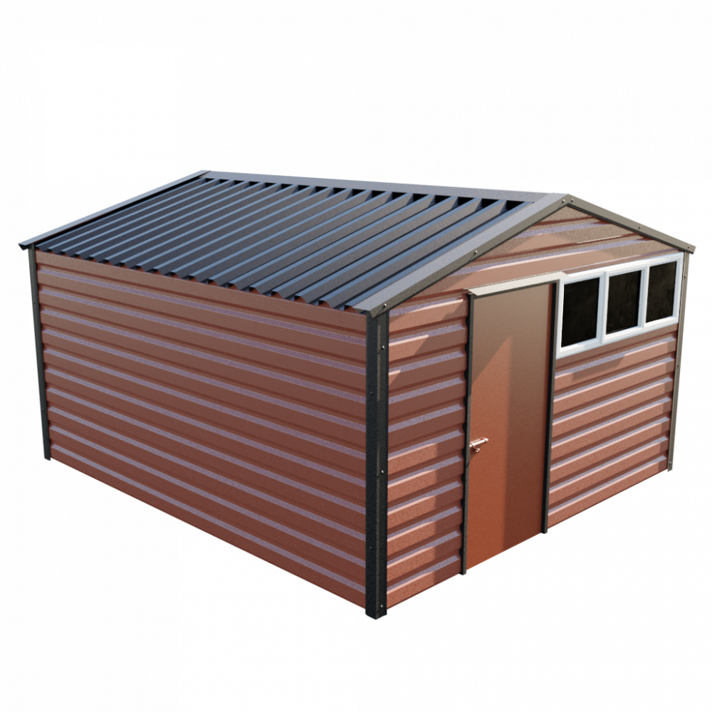 """12' x 13'6"""" Apex Shed - Terracotta"""