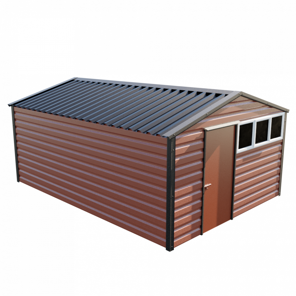 """12' x 16'9"""" Apex Shed - Terracotta"""
