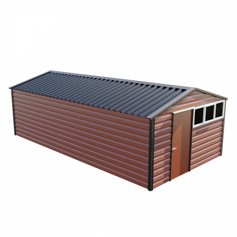 """12' x 23'3"""" Apex Shed - Terracotta"""