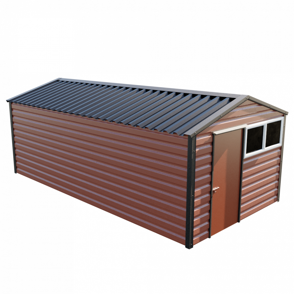 "10'2"" x 20' Apex Shed - Terracotta"